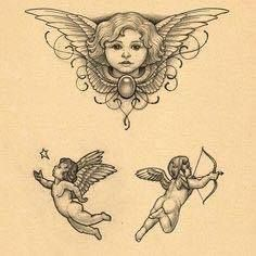 65 Adorable Cherub Tattoos Designs With Meanings Hi Here we have best wallpaper about 2 baby angels tattoo designs. We hope these ph. Baby Angel Tattoo, Cupid Tattoo, Baby Tattoos, Body Art Tattoos, Sleeve Tattoos, Angels Tattoo, Wing Tattoos, Skull Tattoos, Foot Tattoos