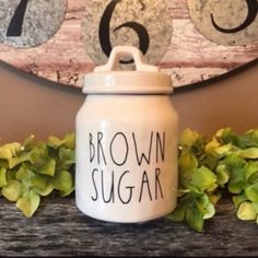Rae Dunn inspired font decal in BROWN SUGAR added to a new Rae Dunn seek seagull canister. Sugar Canister, Canisters, Brown Sugar, Decal, Jars, Cricut, Collection, Inspired, Products
