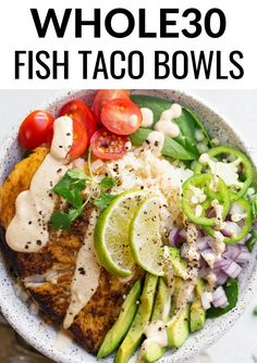 Paleo Fish Taco Bowls - Keto Vegetarian - Ideas of Keto Vegetarian - Fish Taco Bowl An easy to make compliant lunch or dinner recipe. Paleo fish taco bowl served on a big bed of cauliflower rice and topped off with a raw cashew creamy chipotle sauce. Whole 30 Diet, Paleo Whole 30, Whole 30 Meals, Whole 30 Drinks, Whole 30 Vegetarian, Whole 30 Salads, Whole Foods, Whole 30 Lunch, Vegetarian Paleo