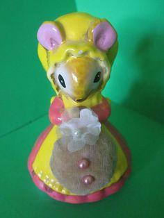 Vintage Figural Pin Cushion Mouse with Bonnet - JAPAN - A Lorrie Design