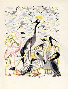 """Lyrical bird illustration for """"Poems for Children"""" by Russian illustrator Mai Miturich (1925-2008), who was one of the major Soviet children's books illustrators of the 1960s and 70s. via animalarium"""