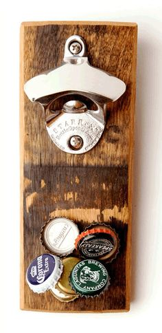 Bourbon Wooden Bottle Opener. Plus magnet that catches up to 30 Bottle caps at a time. Great Gift For HIm