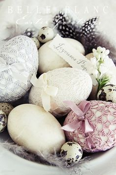 Not many words today, just fresh spring pictures and Easter Greetings. These fabulous crochet goose eggs are a gift from dear Betty . ...
