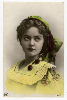Circa 1907 Vintage Glamour Gorgeous Big Beautiful Eyes Lady Tinted Photo PC | eBay