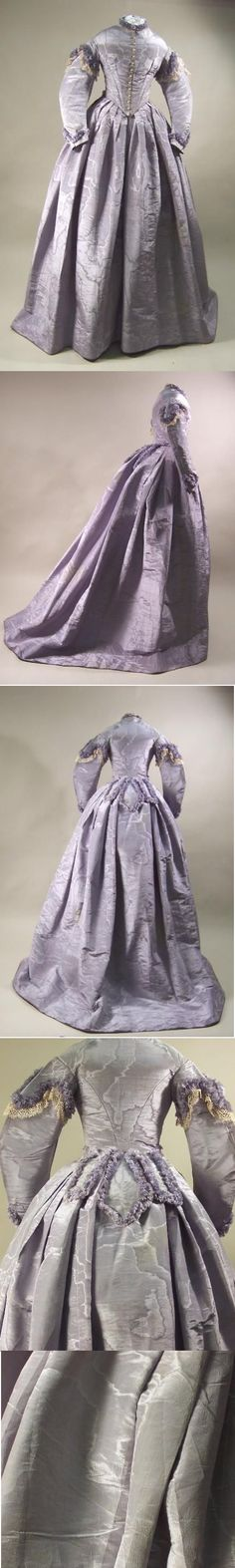 Manchester Galleries English lavender silk moire, 1865. Was used as a wedding dress.