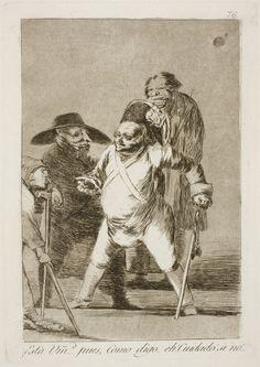 """Francisco de Goya: """"¿Está Vm… pues, Como digo… eh! Cuidado! si no!..."""". Serie """"Los caprichos"""" [76]. Etching, aquatint and drypoint on paper, 213 x 150 mm, 1797-99. Museo Nacional del Prado, Madrid, Spain"""