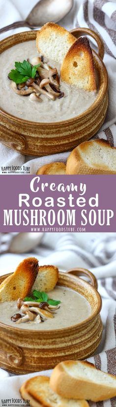 Simple ingredients and 35 minutes is all it takes to make this Creamy Roasted Mushroom Soup. Rich in flavor, comforting and warming this mushroom soup is a must try this winter. #creamy #mushroom #soup #recipe #mushroomsoup #food #vegetarian #homemade #best #easy #fromscratch via @happyfoodstube