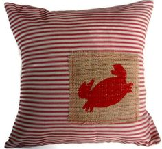 Beach Coastal Nautical  Decorative Pillow  COVER- Red Ticking and Burlap with Red Hand Painted Crab