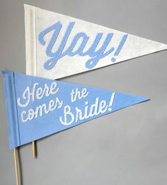 Here Comes the Bride Wedding Pennants