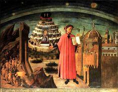 """""""La Divina Commedia di Dante Alighieri"""" (Dante Alighieri's 'Divina Commedia'). Fresco by Domenico Di Michelino (on a design by Alessio Baldovinetti), 1465. Cathedral of Santa Maria del Fiore, Florence. Dante Alighieri tells the story of Paolo Malatesta and Francesca da Rimini in the Canto V of """"Inferno"""", the first book of his """"Divina Commedia"""" (1304-1321). It is believed that the double murder took place in the castle of Gradara, near Pesaro (Marche, Central Italy)."""