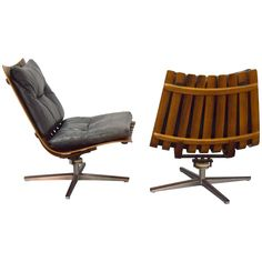 Pair of Hans Brattrud Rosewood Swivel Lounge Chairs
