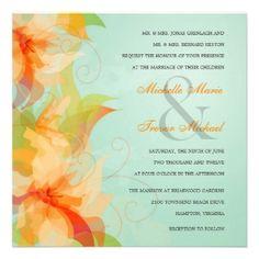 Aqua Tropical Floral Wedding Invitations