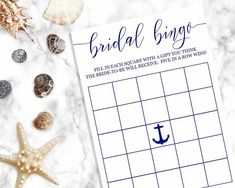 Navy Bridal Bingo Have fun at your Bridal Shower playing Bridal Bingo with this elegant, chic, and classy navy blue bingo cards. Perfect for a beach bridal shower or nautical bridal shower. Let your guests guess what gifts the bride-to-be might receive. Navy Bridal Shower, Nautical Bridal Showers, Nautical Party, Nautical Wedding, Blue Bridal, Bridal Shower Planning, Bridal Shower Games, Bridal Bingo, Bingo Cards