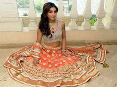 indian reception outfit, indian wedding clothing, indian bridal lehenga, indian designer. click for designer info