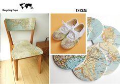 decorar con mapas, reciclar, recycling maps