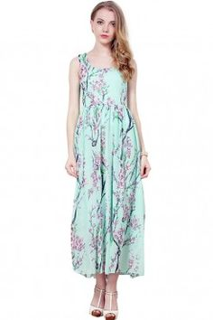 LUCLUC Green Floral Printed Sleeveless Maxi Dress