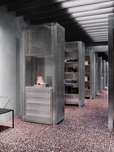 Acne studios, LA. pink terrazzo tiles with anthracite coloured pebbles.
