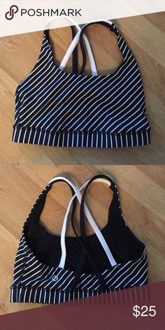 Striped Lululemon Sports Bra Only worn once or twice and in great condition. No trades, please! lululemon athletica Intimates & Sleepwear Bras