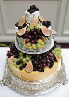 Vineyard wedding Cheese cake with ficus, blackberries + grapes - Scottish Wedding from Jo Bartholomew Wedding Cakes Made Of Cheese, Fruit Wedding Cake, Cool Wedding Cakes, How To Stack Cakes, How To Make Cake, Antipasto, Cheese Tower, Traditional Wedding Cakes, Cake Decorating Supplies