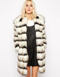 Enlarge River Island Black & White Faux Fur Coat