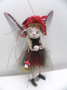 ooak poseable pissed off red dot mushroom pixie fairy ( 15 ) art doll by DinkyDarlings Clay Fairies, Flower Fairies, Dragons, Kobold, Baby Fairy, Paperclay, Clay Figures, Little Doll, Clay Dolls