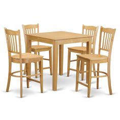 High-top Table and 4 Counter-height Stool 5-piece Pub Table Set