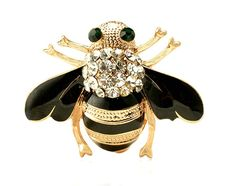 AnaZoz Fashion Jewelry Women Brooch Stainless Steel Bee Brooches and Pins Wedding Brooch Color Gold Black