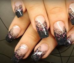 Black lace nails...now this is sexy!