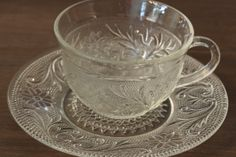 Cup and Saucer Sandwich Depression Glass  Glass Clear Depression Glass