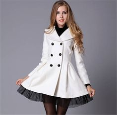 Fashion Women Slim Peacoat Long Dress Jacket Double Breasted Trench Winter Coat in Clothing, Shoes & Accessories, Women's Clothing, Coats & Jackets | eBay