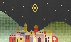 Christmas cross stitch pattern Bethlehem by MKDesignArt on Etsy, £1.50
