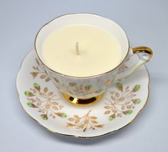 Upcycled Vintage Teacup Candle **Queen Anne Gold Pattern - Vanilla Vegan Candle** by FinerySoaps on Etsy