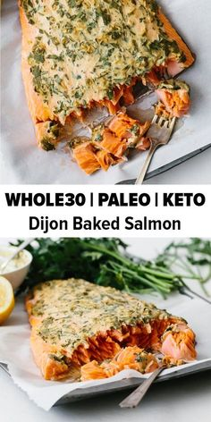 Dijon baked salmon is one of my favorite easy salmon recipes. It's incredibly flavorful and the Dijon topping keeps the salmon moist, light and flaky. It's the perfect healthy dinner recipe and can be made in under 30 minutes. A reader favorite baked salm Easy Salmon Recipes, Seafood Recipes, Diet Recipes, Salmon Recipes Whole 30, Chicken Recipes, Whole30 Salmon Recipes, Whole30 Dinner Recipes, Baked Salmon Easy, Paleo Casserole Recipes