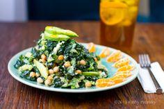 Green Power Tower Salad. Tahini. Citrus. Protein.(reduce the tahini)