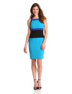 Calvin Klein Womens U-Neck Colorblock Dress, Cerulean/Atlantis Multi, 12 | Traveling Of Life