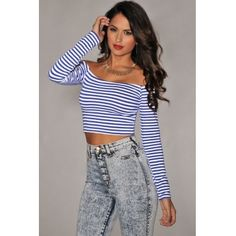 I WANT THIS!!!!! Blue Bateau Neck Long Sleeve Polyester Striped Crop Top – $13.99- Korrine's Fashion Boutique