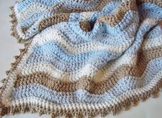 Blanket in soft beautiful colors -- using Attic24 Neat Ripple pattern