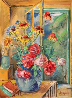 Vase with red and yellow flowers - David Burliuk - WikiArt.org