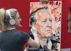 So there we go!! me painting Richard E. Grant on Sky Portrait Artist of the Year. Happy to know its hanging in your house. #portraitartistoftheyear #painting #sky #richardegrant #portrait