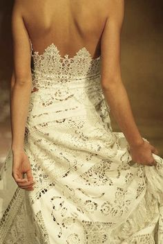 Wedding dress detaiils | .....❥ Gown by Marella Ferrera---super delicate lace***spot on