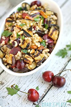 You'll want to dig into this flavorful and filling summer salad: Grilled Eggplant, Cherries, and Couscous Salad makes a fab side dish.