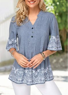 Shop split neck print Tops online,Tops with cheap wholesale price,shipping to worldwide Fashion Mode, Trendy Fashion, Fashion Outfits, Fashion Skirts, Trendy Tops For Women, Blouses For Women, Women's Blouses, Casual Tops, Stylish Tops
