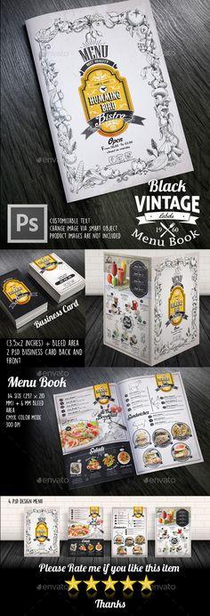 Black Vintage Menu Book - Food Menus Print Templates