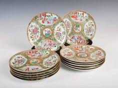et de 12 pratos em porcelana Chinesa de Cantao do sec.19th, Familia Rosa, 22cm de diametro, 2,070 USD / 1,860 EUROS / 6,500 REAIS / 13,760 CHINESE YUAN