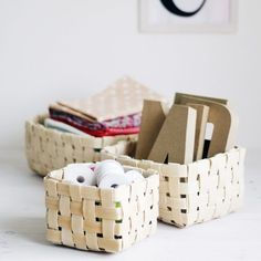 These basket are so easy to make and great to scatter around your home to keep the clutter at bay! See how to make them here.