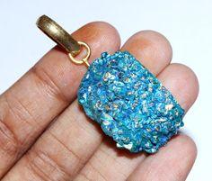 47x18 mm Angel Aqua Aura Crystal Quartz Pendant by RareGemsNJewels