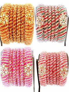 Indian Crystal Handmade Fuchsia Gold Pink Maroon Multicolored Bangle Bracelet 6  #Handcrafted