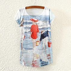 De las mujeres Bloques Camiseta-Escote Redondo-Mezclas de Algodón-Manga Corta 2760168 2016 – $5.99