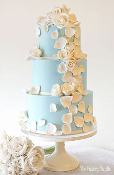 tiffany blue 3 tier wedding cake with with white sugar roses and petals by the pastry studio 3 Tier Wedding Cakes, Wedding Cake Roses, Amazing Wedding Cakes, Wedding Cake Decorations, Elegant Wedding Cakes, Wedding Cake Designs, Wedding Cake Toppers, Amazing Cakes, Cake Design Inspiration