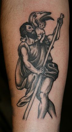 St. Christopher, part of ongoing religious sleeve. | Flickr - Photo Sharing!